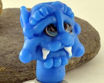 DANSE Macabre, Halloween, Blue Face sculpture focal glass lampwork bead, Izzybeads SRA