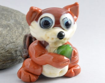 RED Squirrel, Lampwork Glass Squirrel Bead,   Glass Sculpture Collectible, Focal Bead, Pendant, Izzybeads SRA