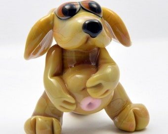 DOG, Dog in the family way, Pregnant Dog Lampwork Glass Focal Bead,    Glass Sculpture Collectable, Focal Bead, Pendant, Izzybeads SRA