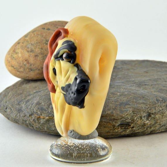 Izzybeads SRA DOG in a Dodgem Car Focal Bead Lampwork Glass Sculpture Collectible