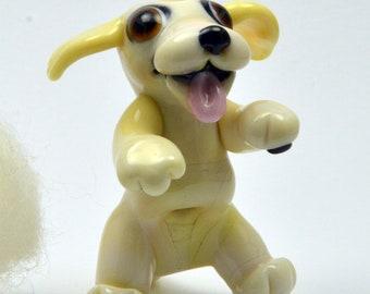 Dog, Labrador Dog Lampwork Glass Focal Bead,    Glass Sculpture Collectible, Focal Bead, Pendant, Izzybeads SRA