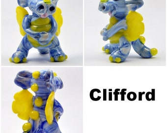 DRAGON, Clifford the Dragon   Lampwork Glass Focal Bead,    Glass Sculpture Collectable, Focal Bead, Pendant, Izzybeads SRA