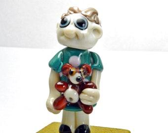 Little girl with teddy bear,   Lampwork Glass Focal Bead,   Glass Sculpture Collectible, Focal Bead, Pendant, Izzybeads SRA