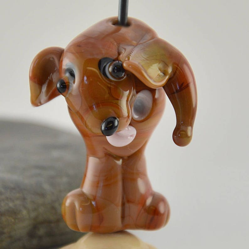 Izzybeads SRA collectible dog bead Dog whimiscal focal glass lampwork bead TALK to the tail