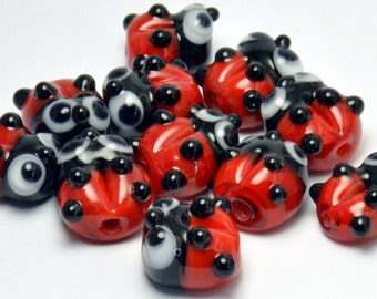 Lampwork glass Ladybug charm sized beads -MTO (made to order)  beads - from Izzybeads SRA UK