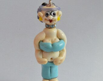YOGA,  Yolanda Does Yoga,  Lampwork Glass Focal Bead,   Glass Sculpture Collectible, Focal Bead, Pendant, Izzybeads SRA