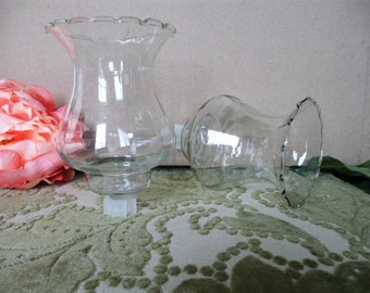 Set of 2 Home Interiors Clear Etched Wheat Short Votive Cup w// rubber grommet