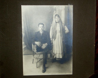 Vintage photograph ... Old country couple ...