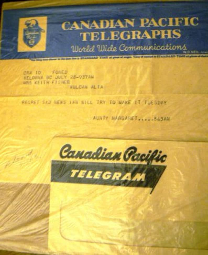 vintage ephemera     CANADIAN PACIFIC TELEGHRAPHS telegram 1956 ephemera no  1