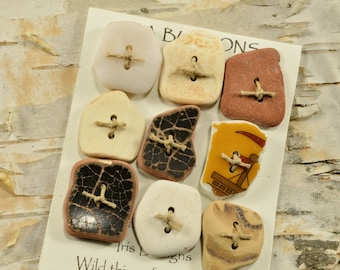 Ten lovelies   a set  genuine Maine sea pottery buttons quirky fun ecochic embellishment for sweaters and all knits