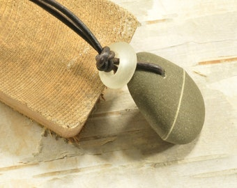 Maine grey striped wish stone necklace pendant on an adjustable leather cord ecofriendly unisex beach style jewelry for men and women