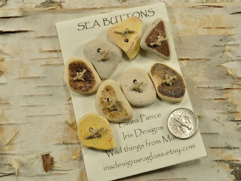 Great eight    a set of yellow and cream genuine Maine sea pottery buttons quirky fun ecochic embellishment for sweaters and all knits