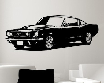 Old School 1965 Ford Mustang Muscle Car/Vinyl Wall Art-CHOOSE ANY COLOR