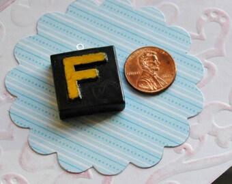 Upcycled, Vintage, wood anagram tile, pendant, Letter F, gift under 10