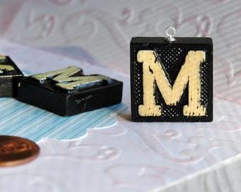 Upcycled, Vintage, wood anagram tile, pendant, Letter M, gift under 10