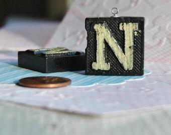 Upcycled, Vintage, wood anagram tile, pendant, Letter N, gifts 10
