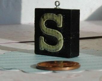 Upcycled, Vintage anagram tile, letter S, gift under 10