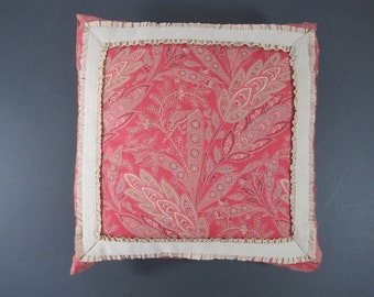 """Handmade 12"""" square red and taupe throw pillow from vintage print"""