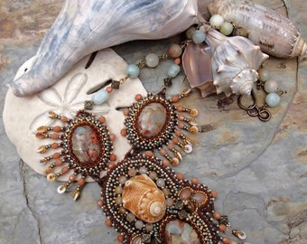 Tidal Pool - Bead Embroidered Statement Necklace