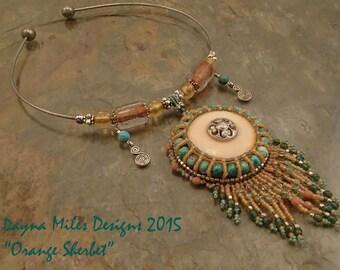 Orange Sherbet - Bead Embroidery Pendant Statement Necklace
