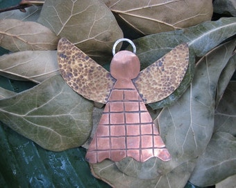 copper, brass and sterling silver angel ornament