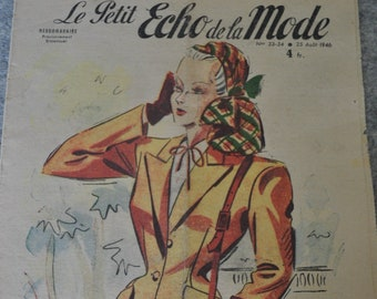 Vintage 1940s Fashion Magazine France for framing, paper crafts, research