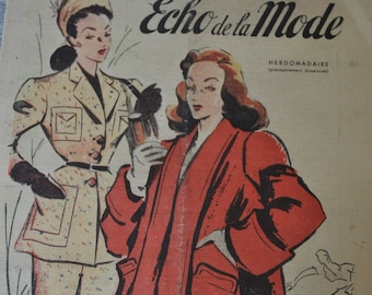 1946 French Fashion and Lifestyle Magazine for framing/paper crafts/decoupage