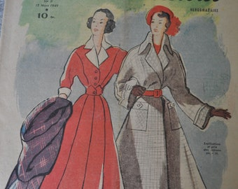 1940s French Fashion and Lifestyle Magazine for Paper Crafts, Research or Framing