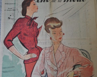 French Fashion Magazine for  Framing.Paper Crafts, Scrapbooking, Research,1940s