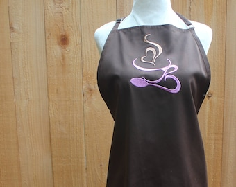 Coffee Swirls Apron Brown