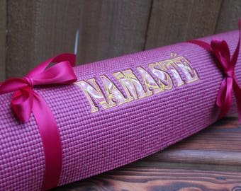 "72"" Namaste Yoga Mat 1/4 inch thick Magenta Pink with Yellow Embroidery"