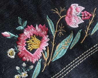 Grane Jeans/Belt Combo Leather Flowers Embroidery Dark Blue Jeans Size 5