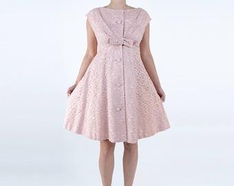 1960s Pink Lace Mini A-Line Dress
