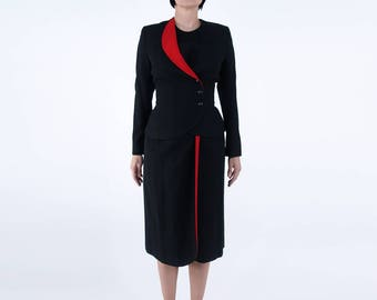 Vintage costume de Bert Newman laine noir w / garniture rouge