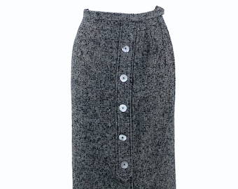 1950s Wool Skirt w/ Decorative Mother of Pearl Buttons