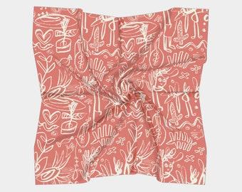 Cactus Bird Lady whimsical scarf
