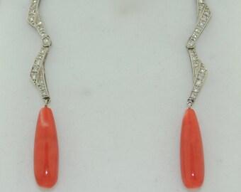 18K Natural Coral & Diamond Long Dangle Earrings