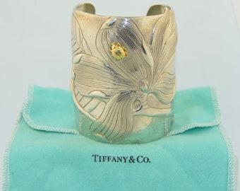 a5e59e5f1 Tiffany & Co. 18K Sterling Silver Extra Wide Cuff Bracelet of a Magnolia  and Ladybug
