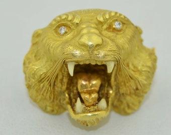 Art Nouveau Lion Head Pendant Rose Gold Fill
