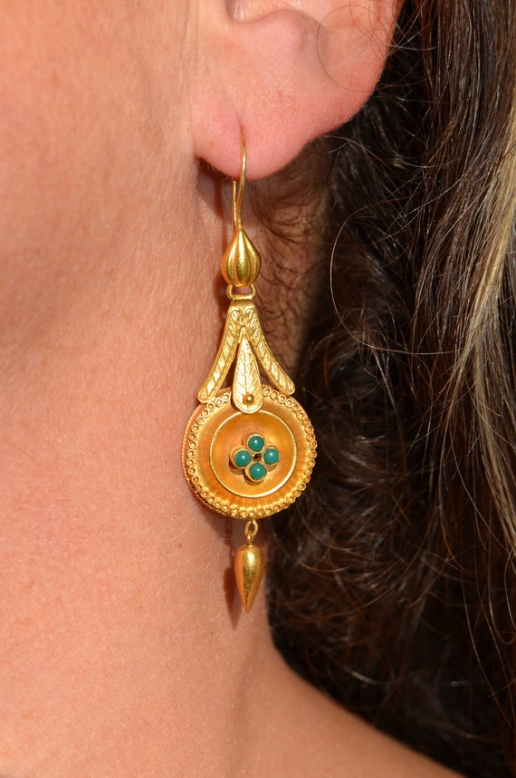 14K & Turquoise Lengthy Dangle Victorian Earrings - image 2