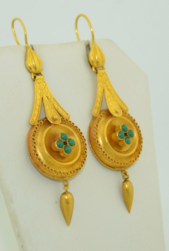 14K & Turquoise Lengthy Dangle Victorian Earrings - image 5