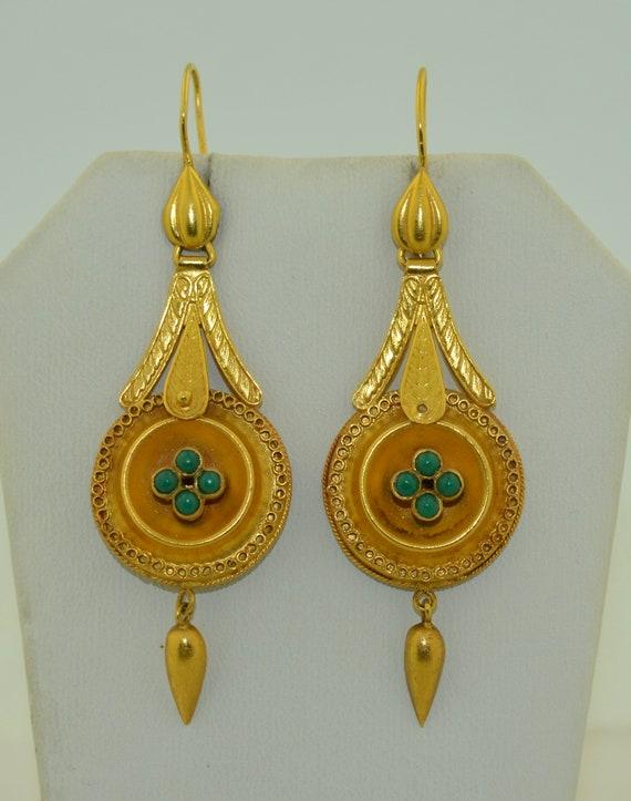 14K & Turquoise Lengthy Dangle Victorian Earrings - image 3
