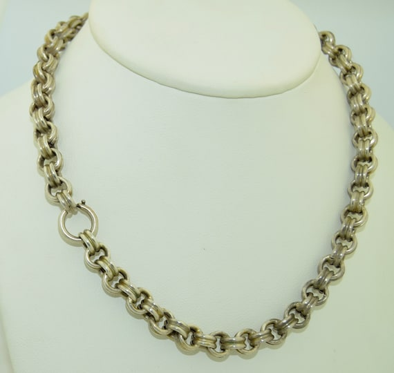 Antique Sterling Silver Chunky Link Chain Necklace