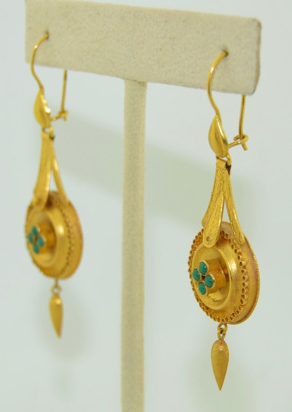 14K & Turquoise Lengthy Dangle Victorian Earrings - image 10