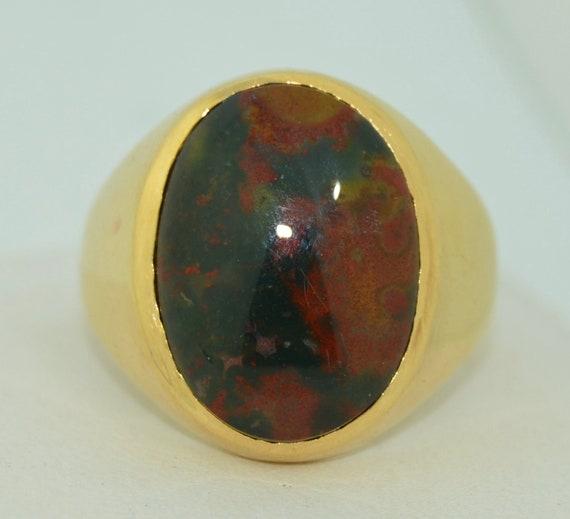 Large 14K Bloodstone Signet Ring