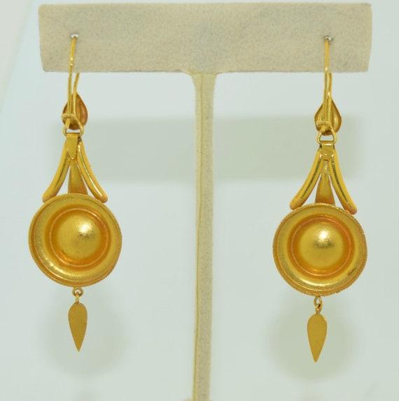 14K & Turquoise Lengthy Dangle Victorian Earrings - image 8