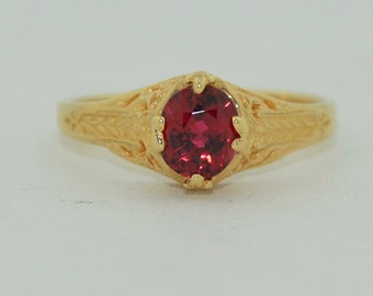 Fine Flame Red Spinel 14K Yellow Gold Filigree Ring