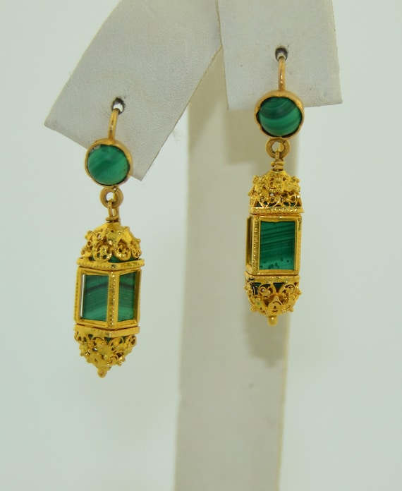 Antique 21K Malachite Dangle Drop Earrings