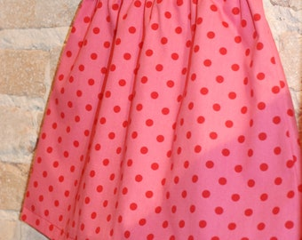 Pink and Red Polkadots A-line Skirt - modern toddler girls clothing - fall fashion - made to order - sizes 2T 3T 4 5 6 7 8