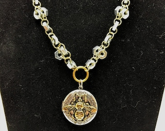 Bee Locket  and Hardware Necklace